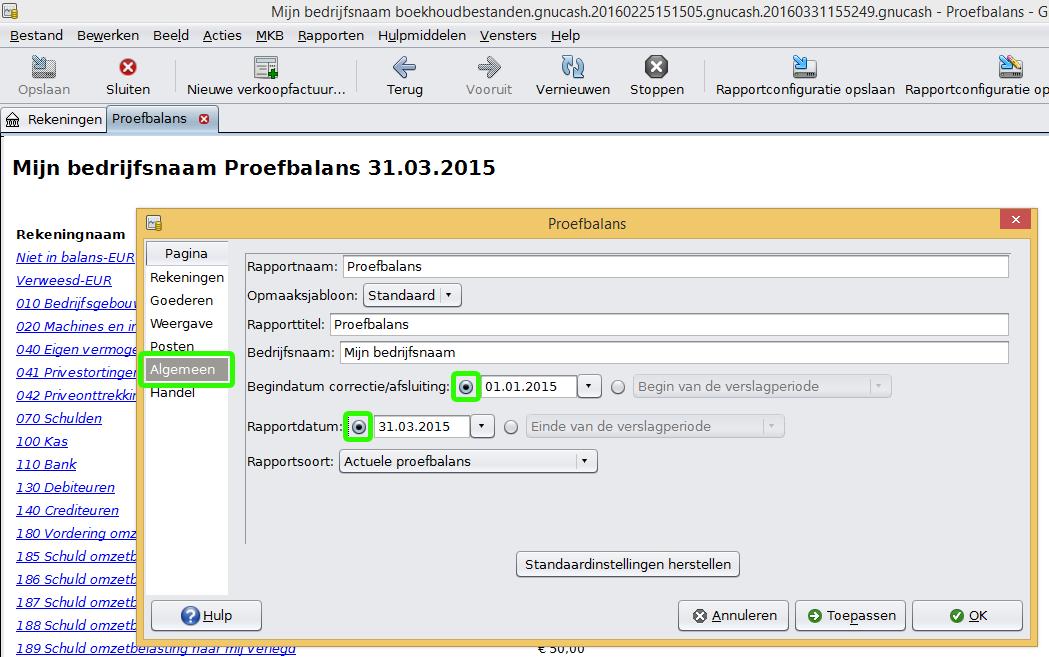 Rapportopties proefbalans scherm 1