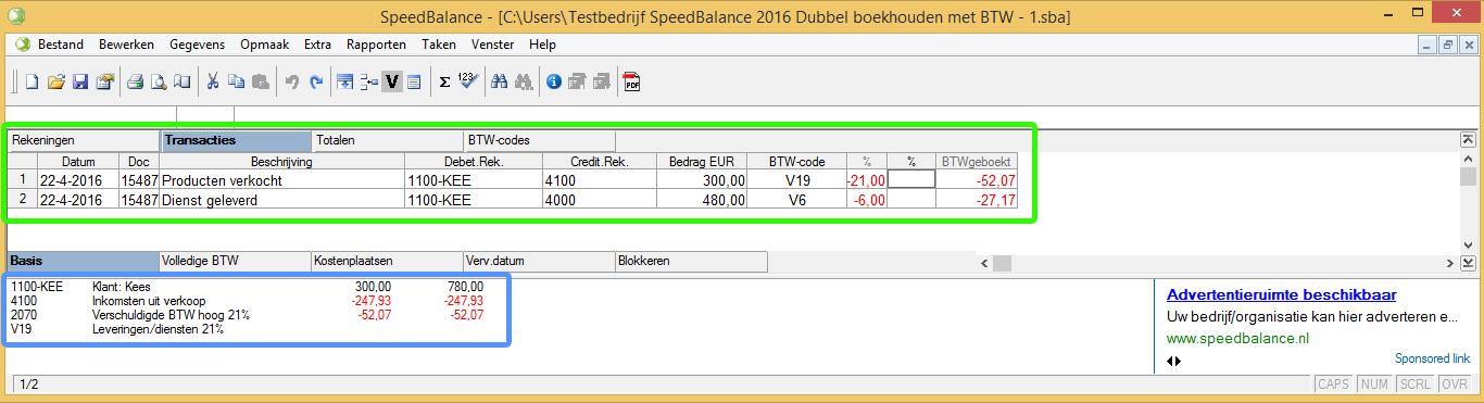 SpeedBalance verkoopfactuur invoeren